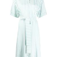 Light Blue Striped Shirt Dress