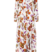 White Heat Map Floral Asymetrical Dress