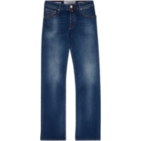 Mid Blue Contrast Stitch Straight Jeans
