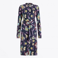 Navy Heat Map Floral Shirt Dress