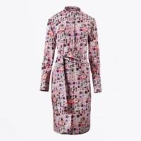 Pink Motif Printed Belted Dress