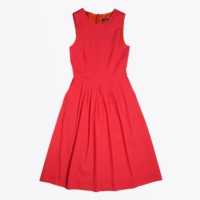Red Pleated Midi Dress