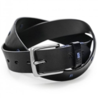 Black Leather Square Stitch Belt