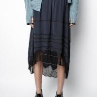 Navy Joslin Lace Skirt