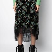 Black Joslin Velvet Blossom Skirt