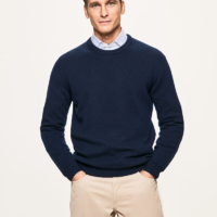 Navy Lambswool Crew Neck Jumper