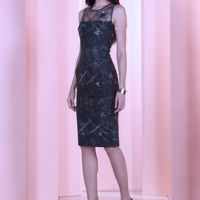 Black Spider Metallic Sheer Midi Dress