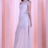 Off-White One Shoulder Draped Gown