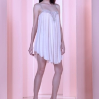 Off White Assymmetric Draped Couture Mini Dress