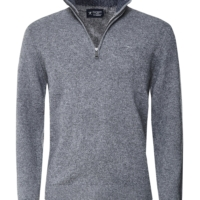 Grey Lambswool Half Zip Jumper