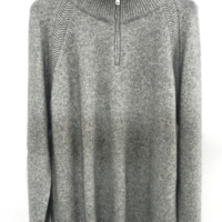 Grey Half Zip Cashmere Cardigan
