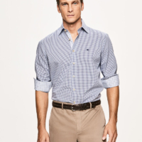 Blue Mini Check Slim Fit Shirt