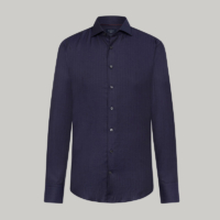 Navy Herringbone Sateen Slim Fit Shirt