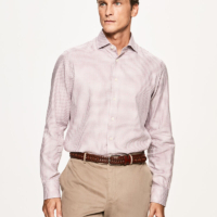 Pink Houndstooth Sateen Slim Fit Shirt