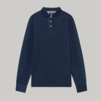 Navy Check Trim Long Sleeve Polo Shirt