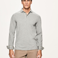 Grey Check Trim Long Sleeve Polo Shirt