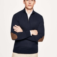 Navy Lambswool Half Zip Jumper