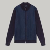 Navy Herringbone Tweed Merino Wool Zip Jacket