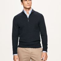 Navy Micro Diamond Half Zip Sweater