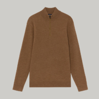 Camel Micro Diamond Half Zip Sweater