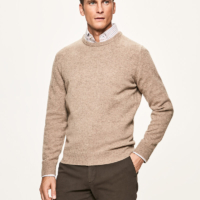 Beige Lambswool Crew Neck Jumper