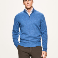 Coastal Blue Lambswool Half Zip Jumper