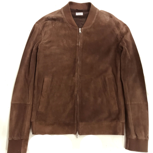 Brown Perforated Leather Bomber Jacket