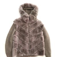 Beige Fur & Knit Hooded Jacket