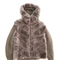 Beige Fur & Knit Hooded Jacket