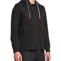 Charcoal Cashmere-Blend Jersey Hoodie Jacket
