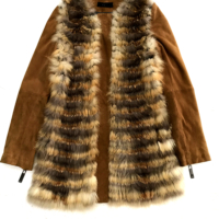 Camel Fox Fur Jacket