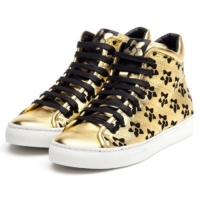 Metallic Gold Perforated High Top Sneakers