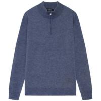 Blue Denim Fine Half Zip Sweater