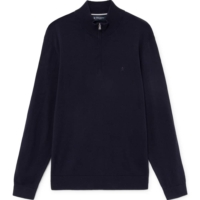 Navy Fine Half Zip Sweater
