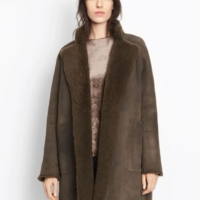 Deep Green Reversible Shearling Coat