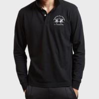 Black Milo Long Sleeve Polo Shirt