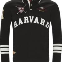 Black HARVARD Long Sleeve Polo Shirt