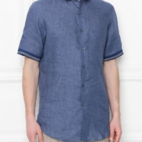 Blue Shirt with Contrasting Knit Collar