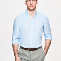 Chambray Garment Dye Linen Oxford Shirt
