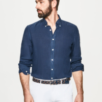 Navy Garment Dye Linen Oxford Shirt