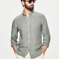 Sage Garment Dye Linen Oxford Shirt