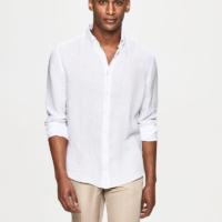 White Garment Dye Linen Oxford Shirt