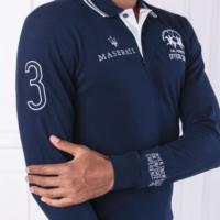Navy 'MASERATI' Long Sleeve Polo Shirt