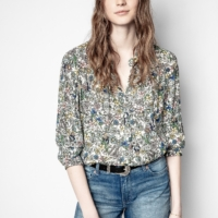 Blue Tink Crinkle Flower Tunic