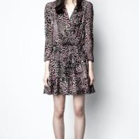 Multi-Colour Rogers Velours Devore Dress
