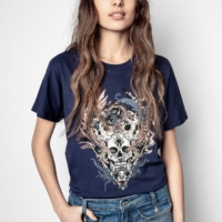 Blue Tom Skull Strass T-shirt