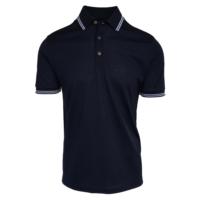 Navy Striped Collar Polo Shirt