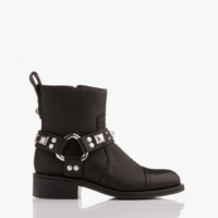 Black Empress Belt Biker Boots