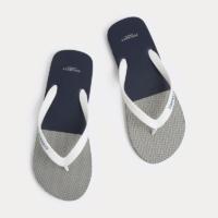 Grey Herringbone Flip Flops